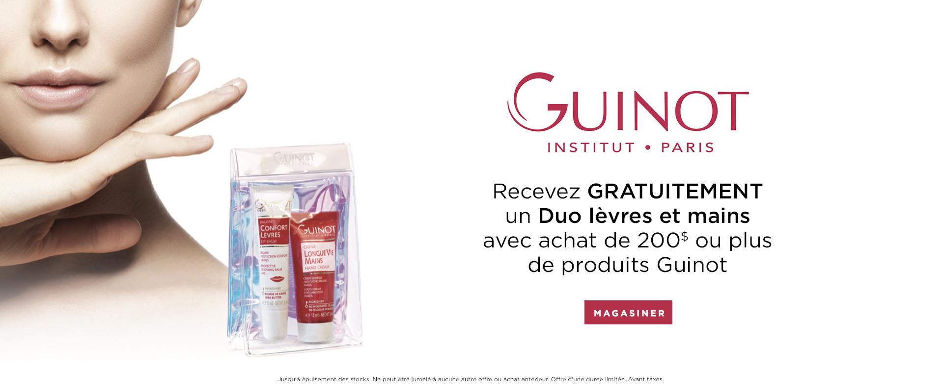 Recevez GRATUITEMENT un Duo lèvres et mains a l'achate de 200$ de produits Guinot.
