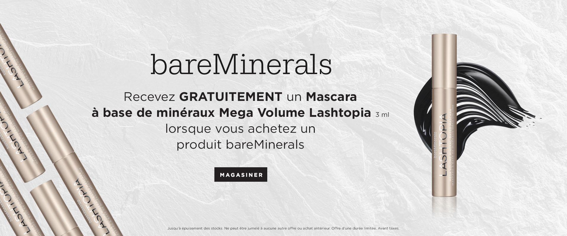 Recevez un bareMinerals Mascara a base de minéraux mega volume lashtopia GRATUITEMENT lorsque vous achetez un produit bareMinerals.