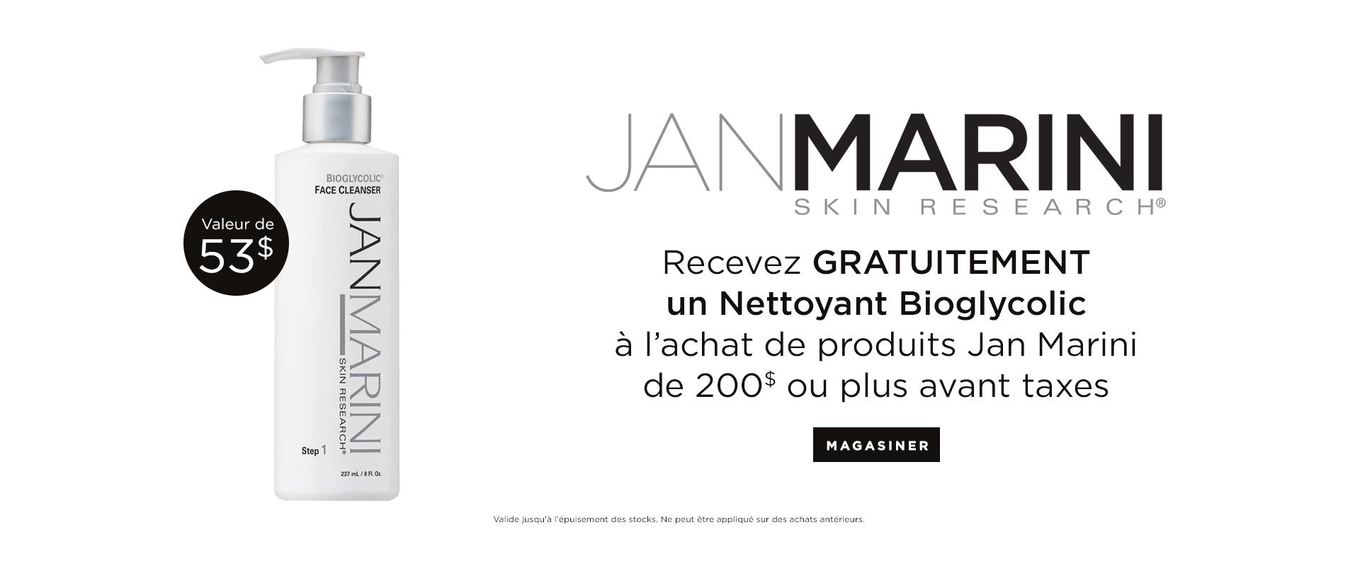 Recevez un Nettoyant Bioglycolic GRATUITEMENT avec achat de 100$ ou plus de produits Jan Marini.
