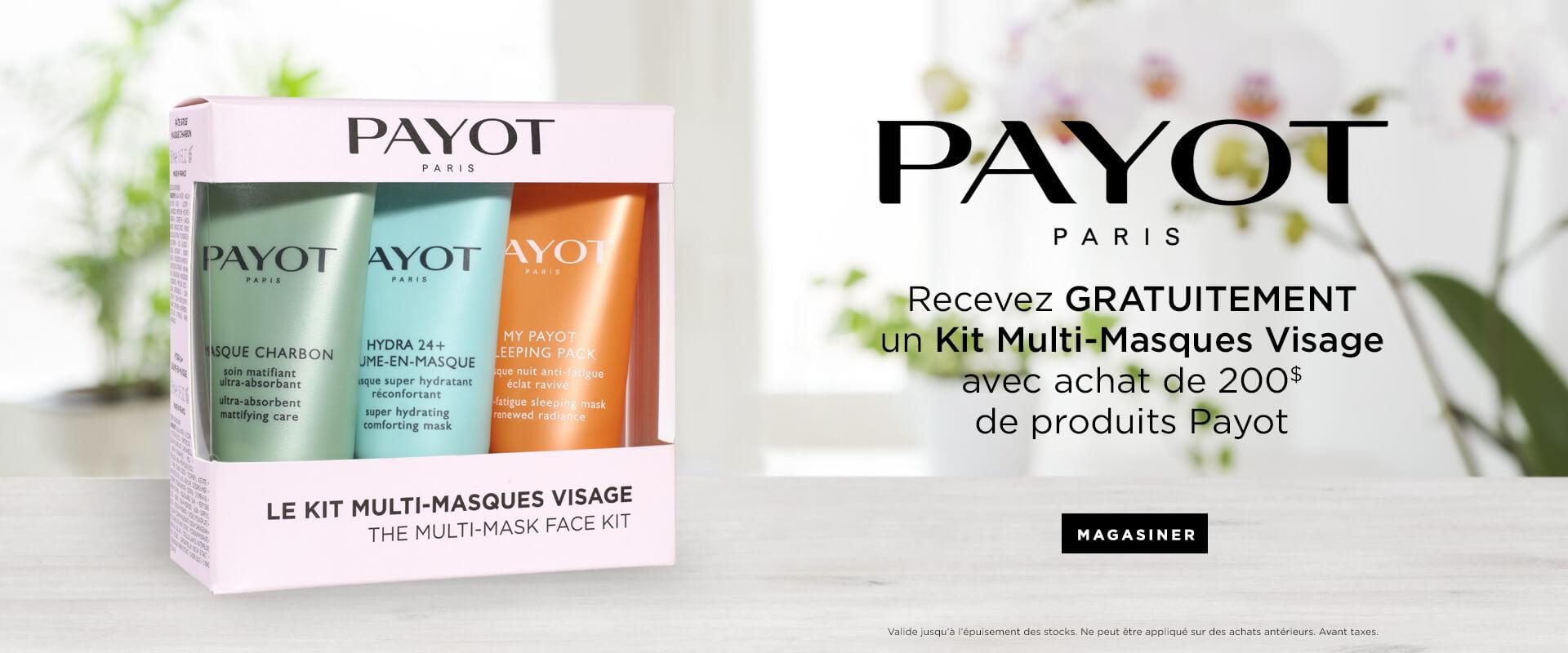 Recevez GRATUITEMENT un Kit Multi-Masques Vissage a l'achate de 200$ de produits Payot.